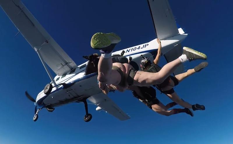 Naked men parachuting